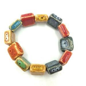Jewelry - Gorgeous colorful glazed stoneware bead bracelet